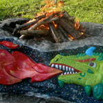 sculpture dragon fire pit